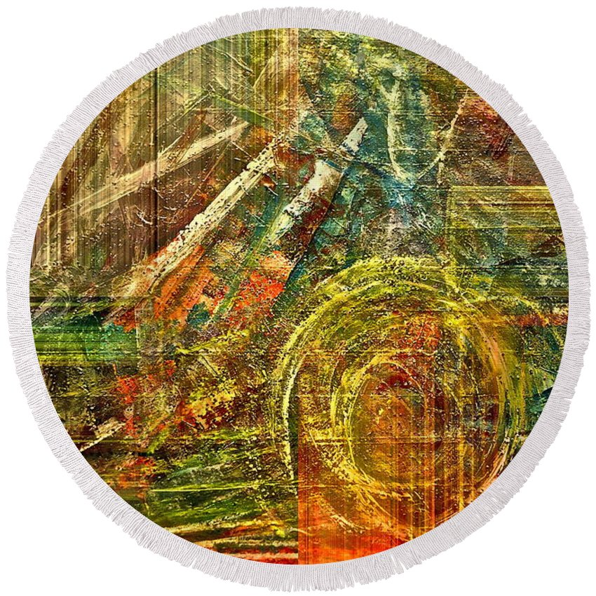 Abstract Round Beach Towel featuring the mixed media Farming by Gwyn Newcombe
