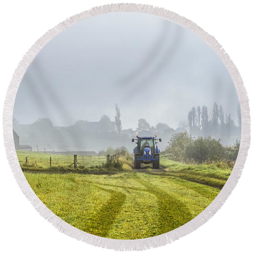 Sony Round Beach Towel featuring the photograph Farming In Clackmannan by Jeremy Lavender Photography