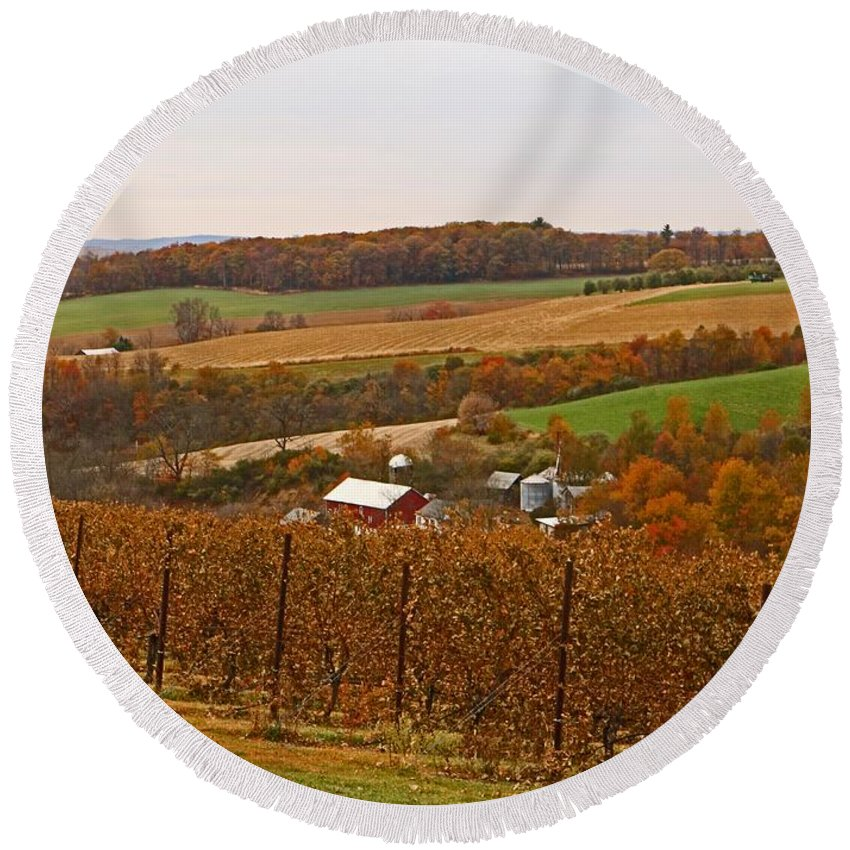 Lehigh Valley Round Beach Towel featuring the photograph Farming In The Valley by Terrie Stickle
