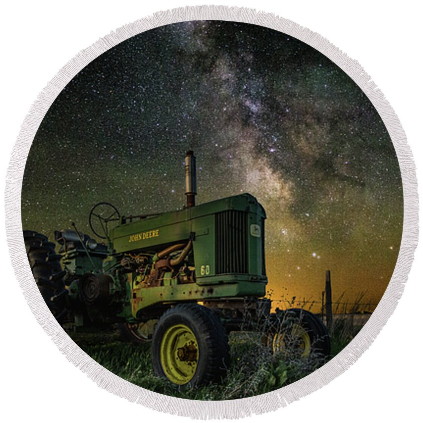 Air Glow Round Beach Towel featuring the photograph Farming The Rift 3 by Aaron J Groen