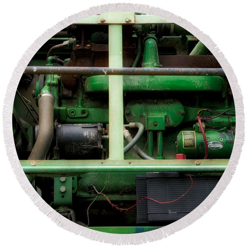 Tractor Engine Round Beach Towel featuring the mixed media Farming You Need To Be A Jack Of All Trades by Thomas Woolworth