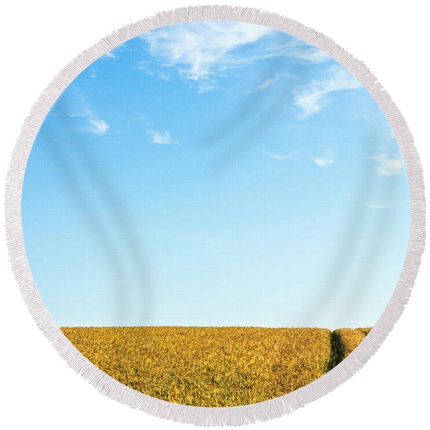 Europe Round Beach Towel featuring the photograph Farmland To The Horizon 1 by Heiko Koehrer-Wagner