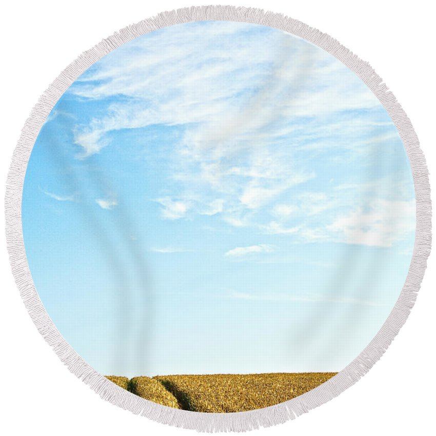 Europe Round Beach Towel featuring the photograph Farmland To The Horizon 2 by Heiko Koehrer-Wagner