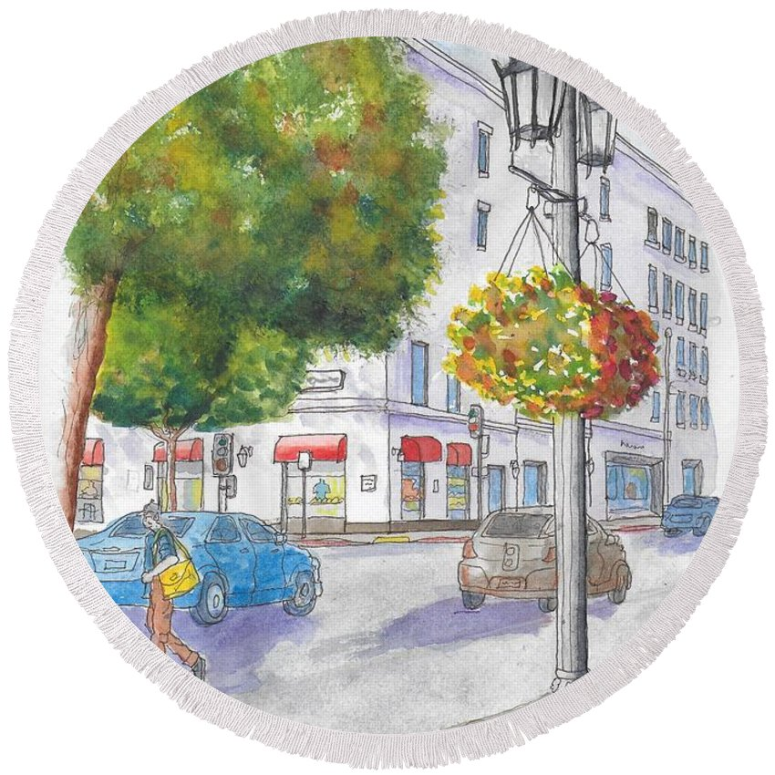 Farola Round Beach Towel featuring the painting Farola With Flowers In Wilshire Blvd., Beverly Hills, California by Carlos G Groppa