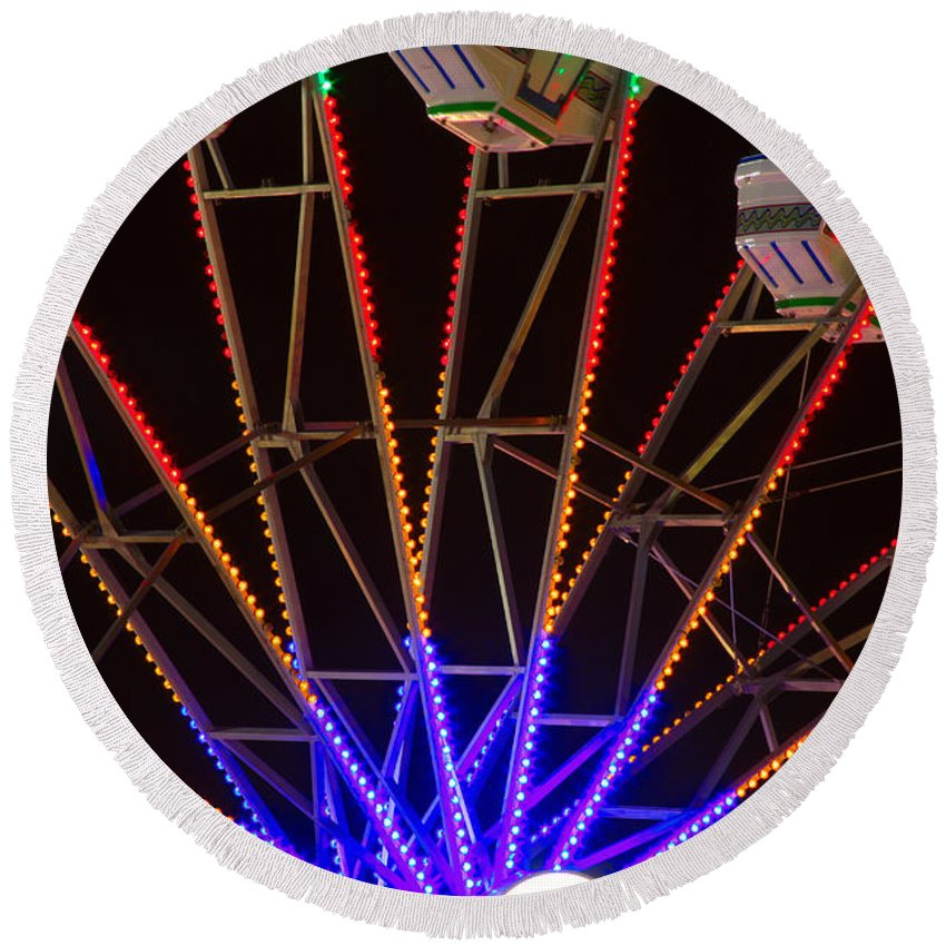 Carnival Images Round Beach Towel featuring the photograph Farris Wheel Close-up by James BO Insogna