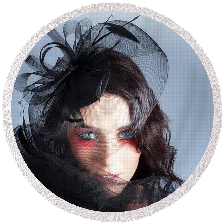 Adult Round Beach Towel featuring the photograph Fascinating Makeup Woman In High Fashion Hat by Jorgo Photography - Wall Art Gallery