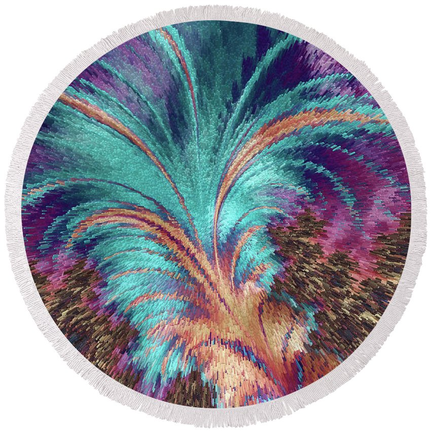 Abstract Round Beach Towel featuring the painting Feather Abstract by MS Fineart Creations