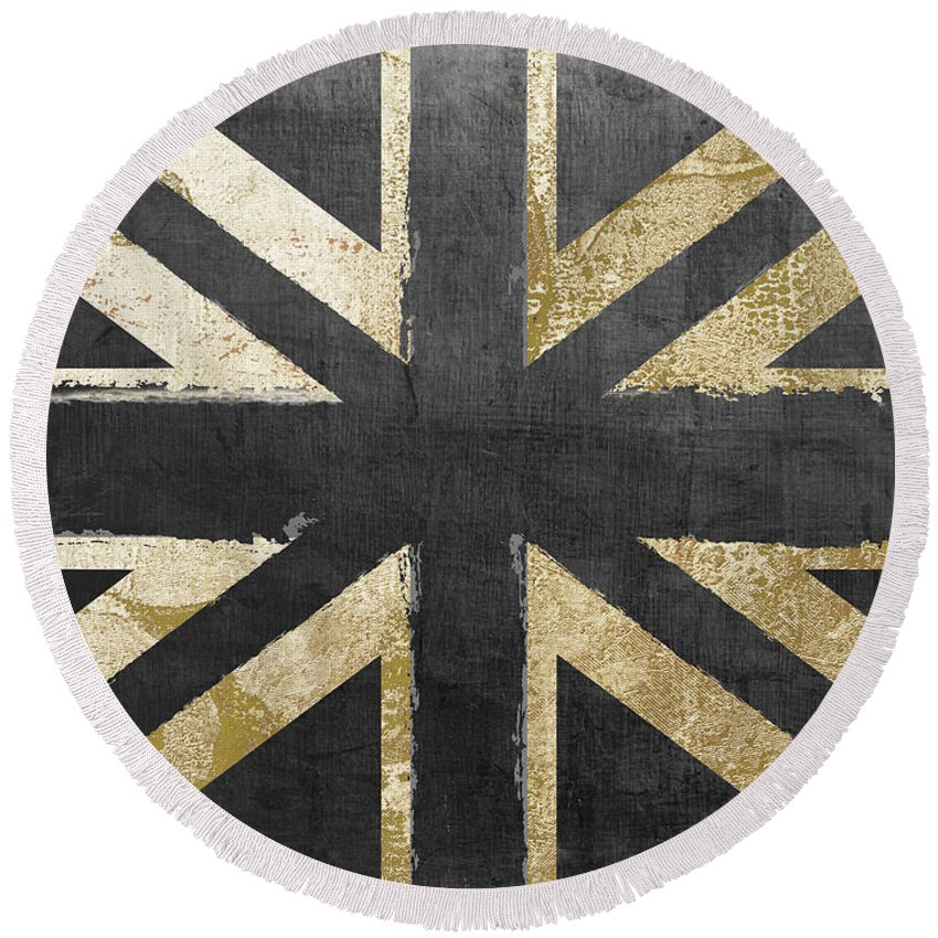 Britain Round Beach Towel featuring the painting Fashion Flag United Kingdom by Mindy Sommers