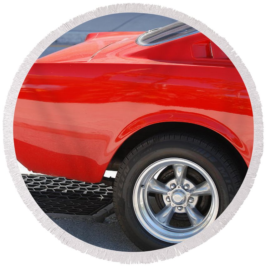 Ford Round Beach Towel featuring the photograph Fastback Mustang by Rob Hans