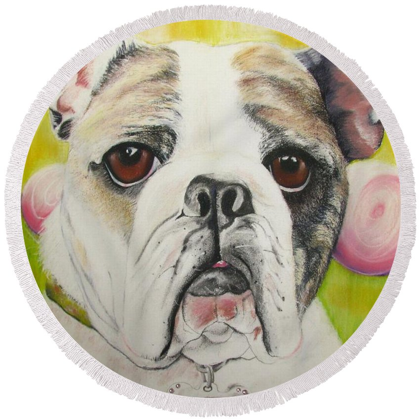 Dog Painting Round Beach Towel featuring the pastel Fat Rose by Michelle Hayden-Marsan