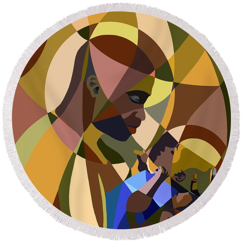 Man Round Beach Towel featuring the painting Father And Son by James Mingo