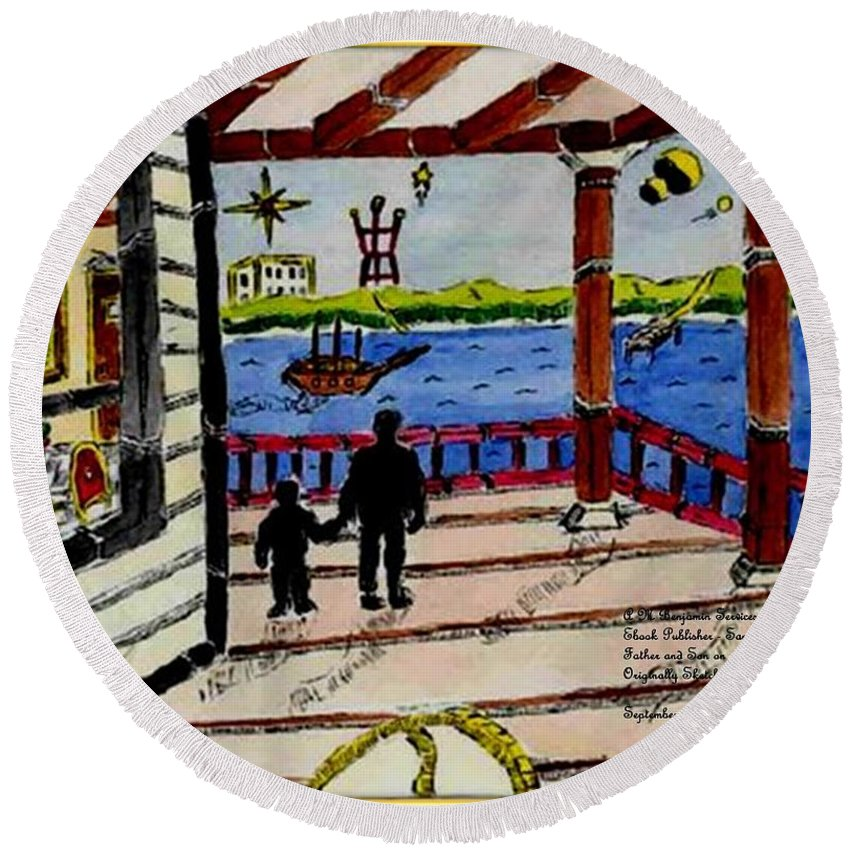 Boy Round Beach Towel featuring the painting Father And Son On The Porch by Anthony Benjamin
