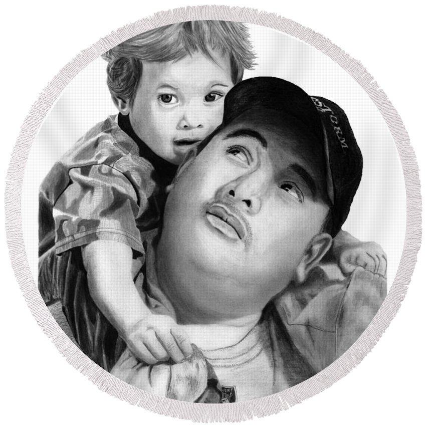 Father And Son Round Beach Towel featuring the drawing Father And Son by Peter Piatt