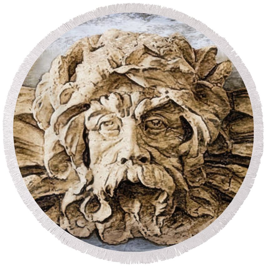 Sculpture Round Beach Towel featuring the digital art Father Time by Gina Geldbach-Hall