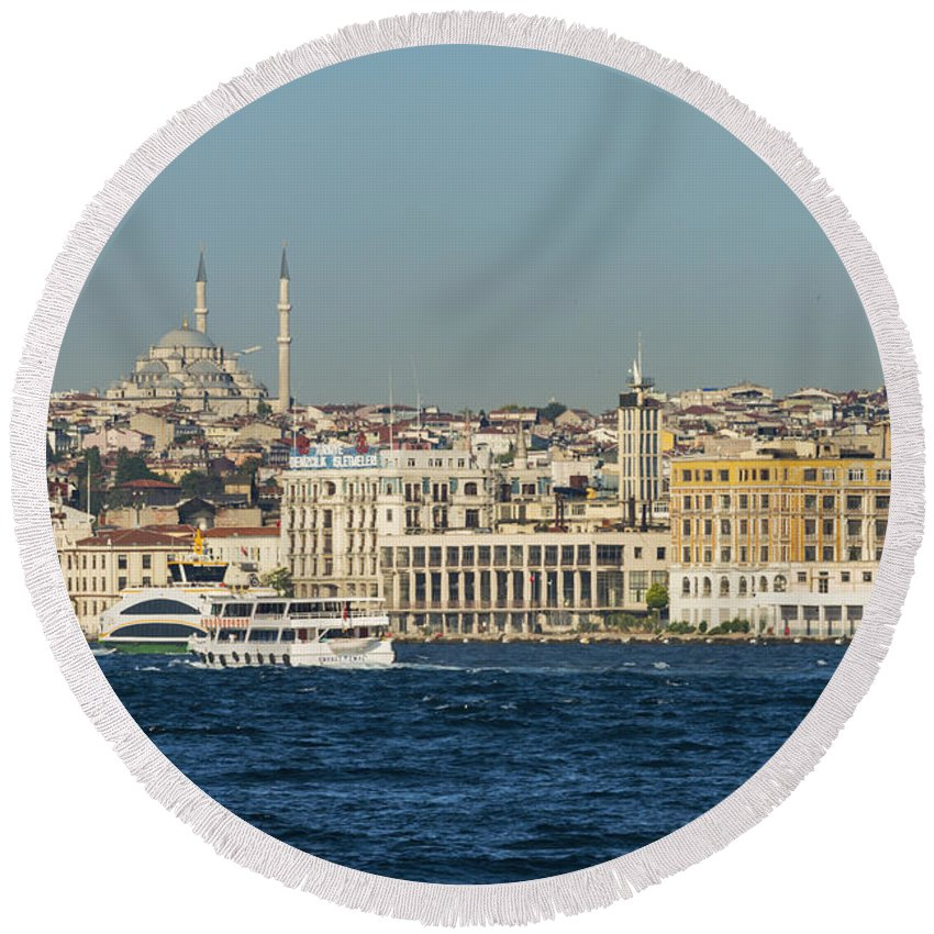 Istanbul Turkey Fatih Sultan Mehmet Mosque Mosques Building Buildings Structure Structures Architecture Bosphorus Water City Cities Cityscape Cityscapes Boat Boats Ferry Ferries Water Waterscape Waterscapes Place Places Of Worship Round Beach Towel featuring the photograph Fatih Sultan Mehmet Mosque by Bob Phillips