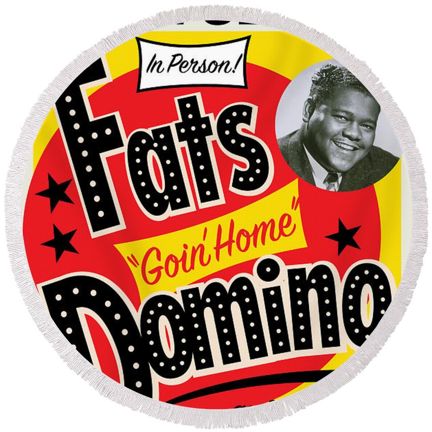 Concert Poster Round Beach Towel featuring the painting Fats Domino by Gary Grayson