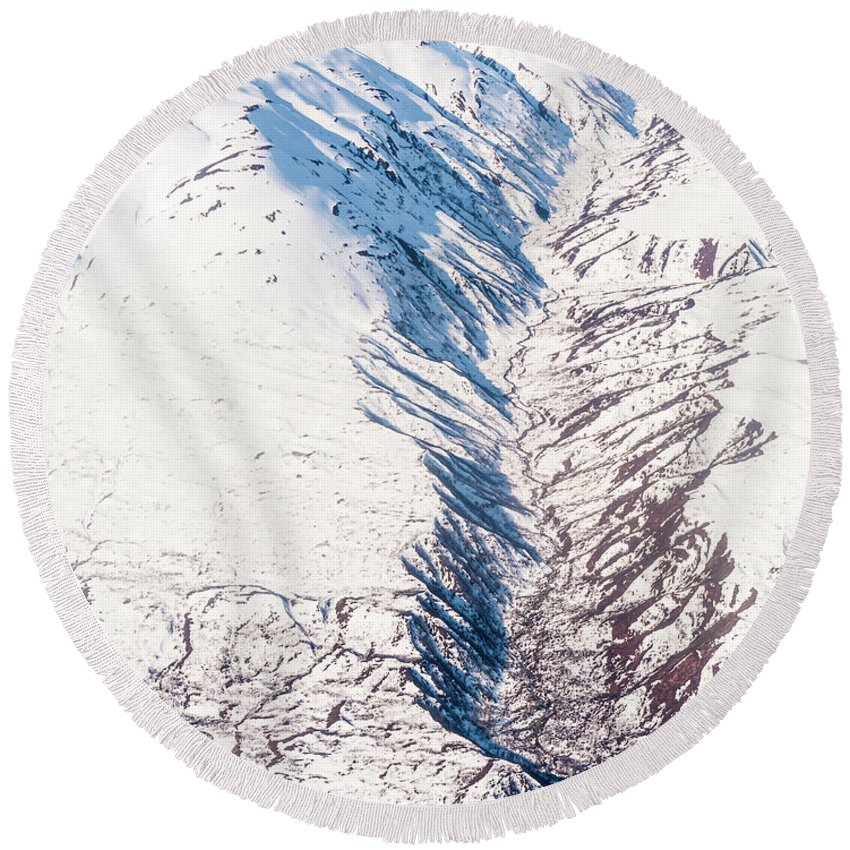 Alaska Round Beach Towel featuring the photograph Fault In Alaska by Charles McCleanon