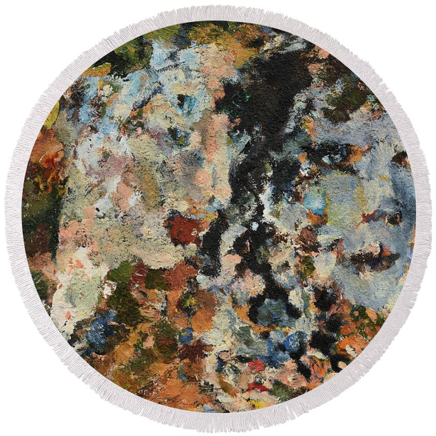 Faun Round Beach Towel featuring the painting Faun's Spring by Oleg Konin