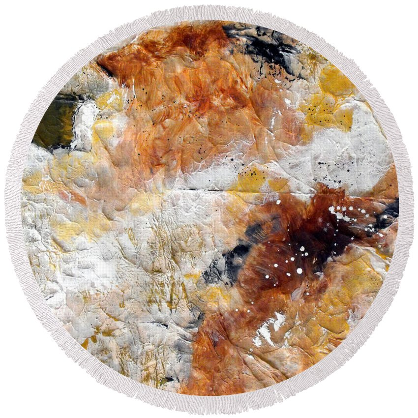 Abstract Round Beach Towel featuring the painting Fear Of The Unknown Close-up by Ruth Palmer