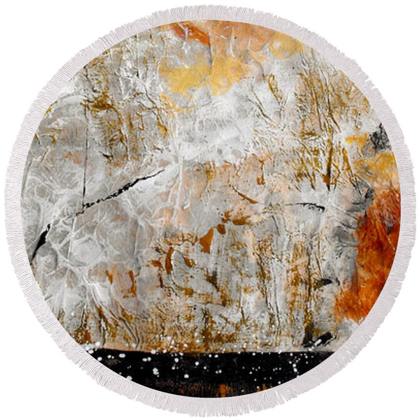 Abstract Round Beach Towel featuring the painting Fear Of The Unknown by Ruth Palmer