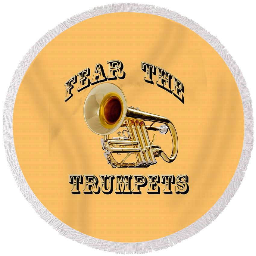 Trumpet Round Beach Towel featuring the photograph Fear The Trumpets. by M K Miller