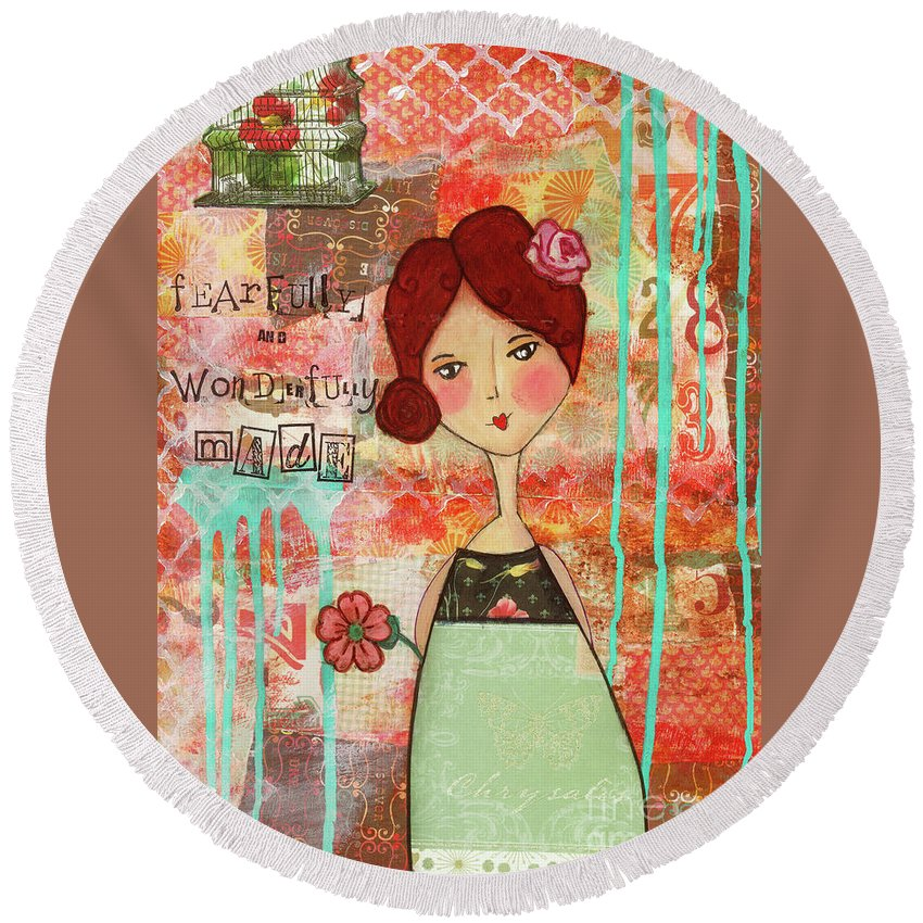 Whimsical Round Beach Towel featuring the mixed media Fearfully And Wonderfully Made by Michelle Thompson