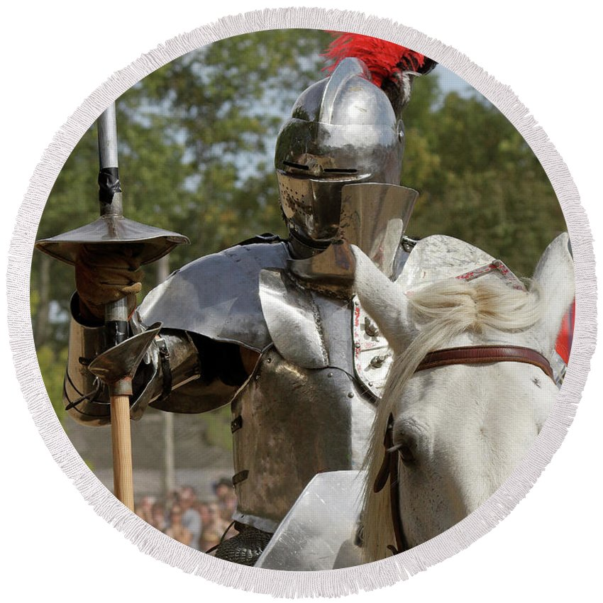 Suit Of Armor Round Beach Towel featuring the photograph Knight With Lance by John Wijsman