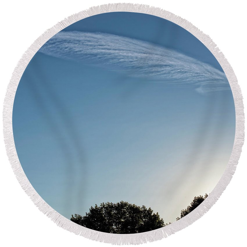 # Art Decor Round Beach Towel featuring the photograph Feather Cloud by Anka Wong
