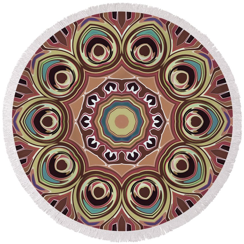 Mandala Art Round Beach Towel featuring the painting Feather by Jeelan Clark