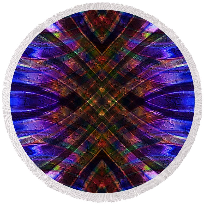 Feathered Stained Glass Round Beach Towel featuring the digital art Feathered Stained Glass by Kiki Art