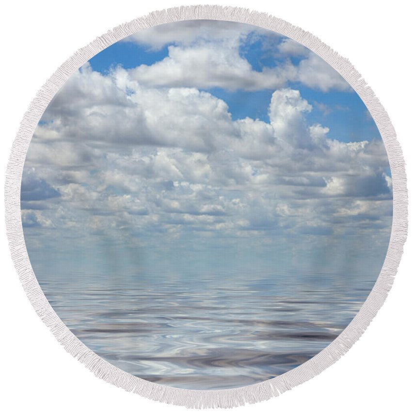 Cloud Round Beach Towel featuring the photograph Featherly by Jerry McElroy