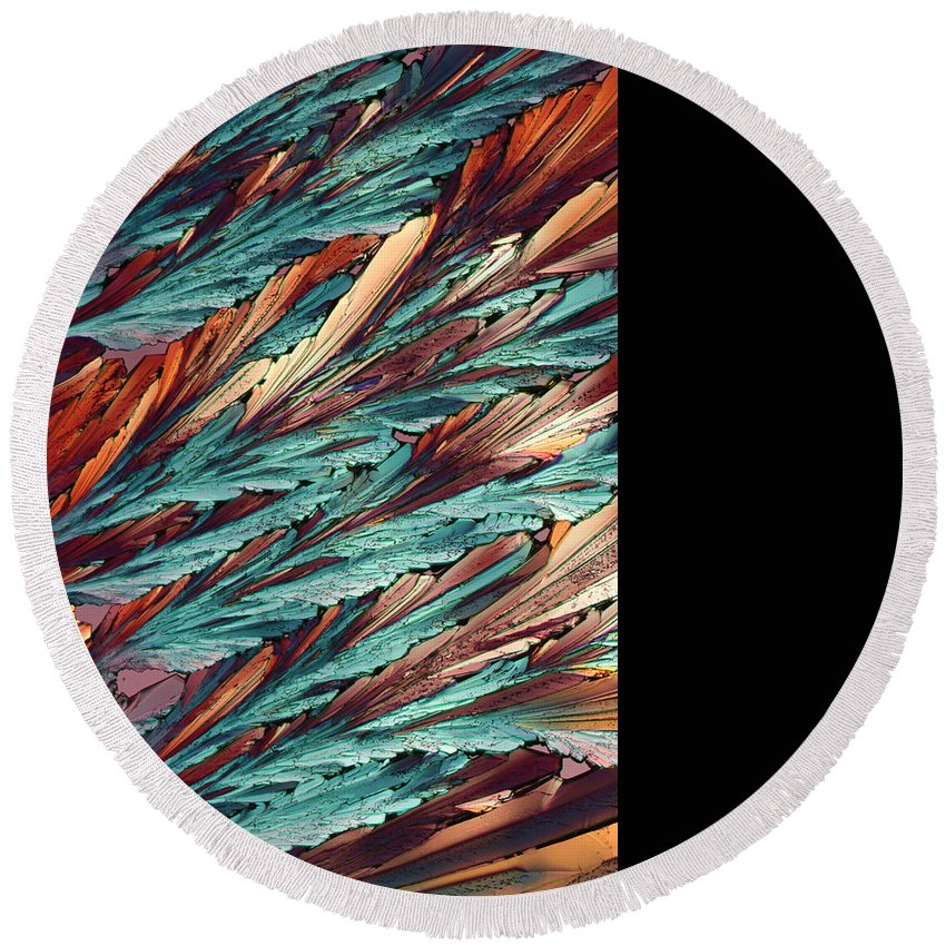 Abstract Round Beach Towel featuring the photograph Feathers Of Crystal 2 by Bernardo Cesare