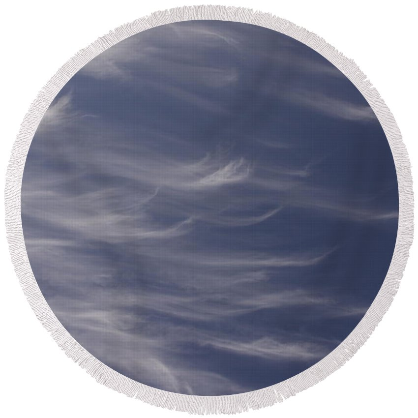 Sky Blue Clouds White Feather Photography Photograph Round Beach Towel featuring the photograph Feathery Sky by Shari Jardina
