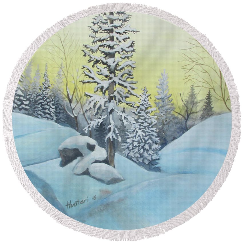 Winter Round Beach Towel featuring the painting February Morning by Rick Huotari
