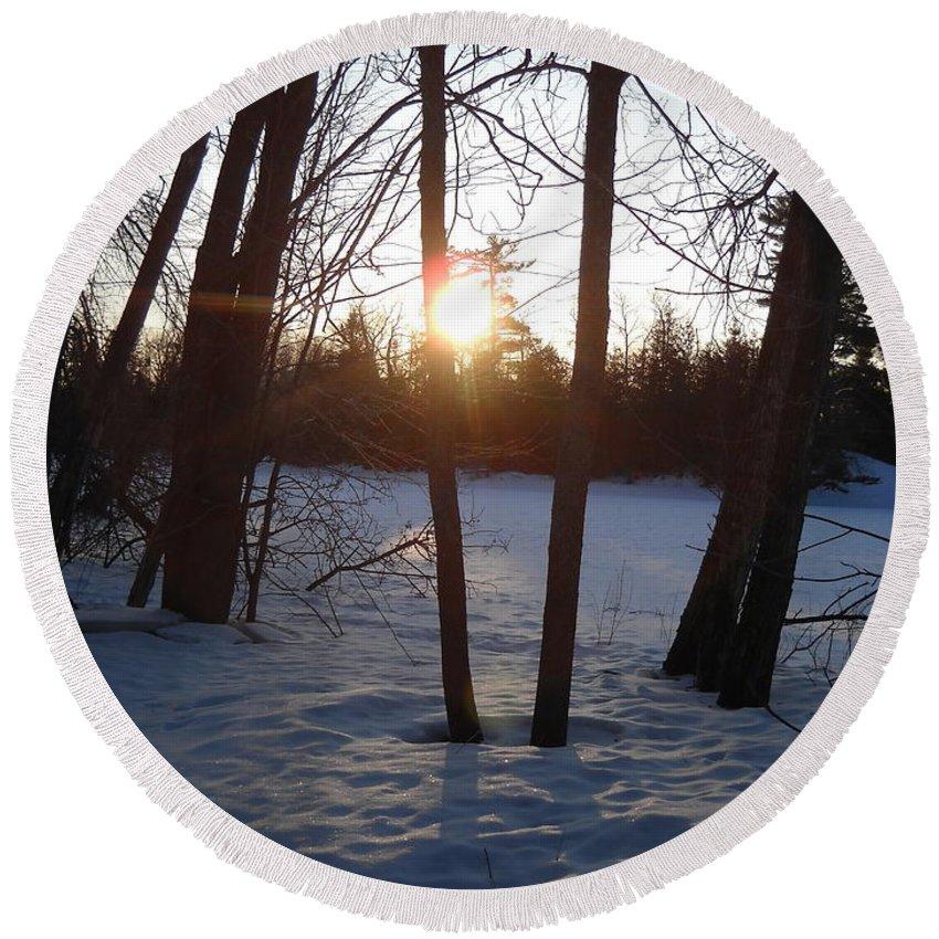 Sunrise Round Beach Towel featuring the photograph February Sunrise Alongside A Tree by Kent Lorentzen