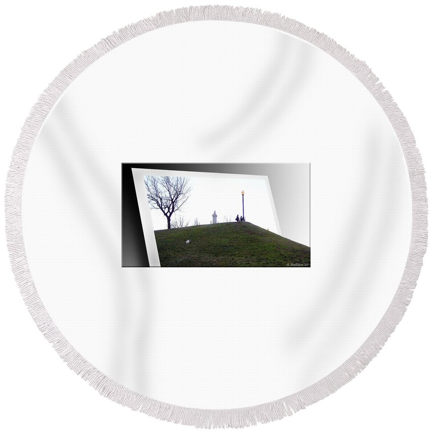 2d Round Beach Towel featuring the photograph Federal Hill Dog by Brian Wallace
