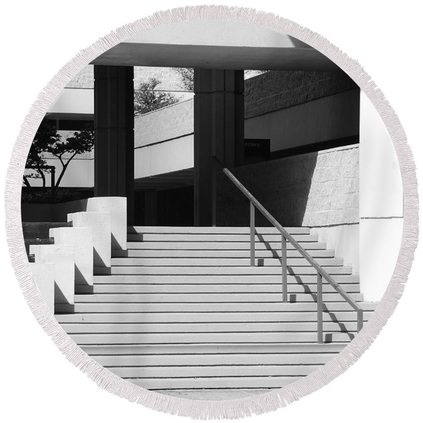 Architecture Round Beach Towel featuring the photograph Federal Stairs by Rob Hans