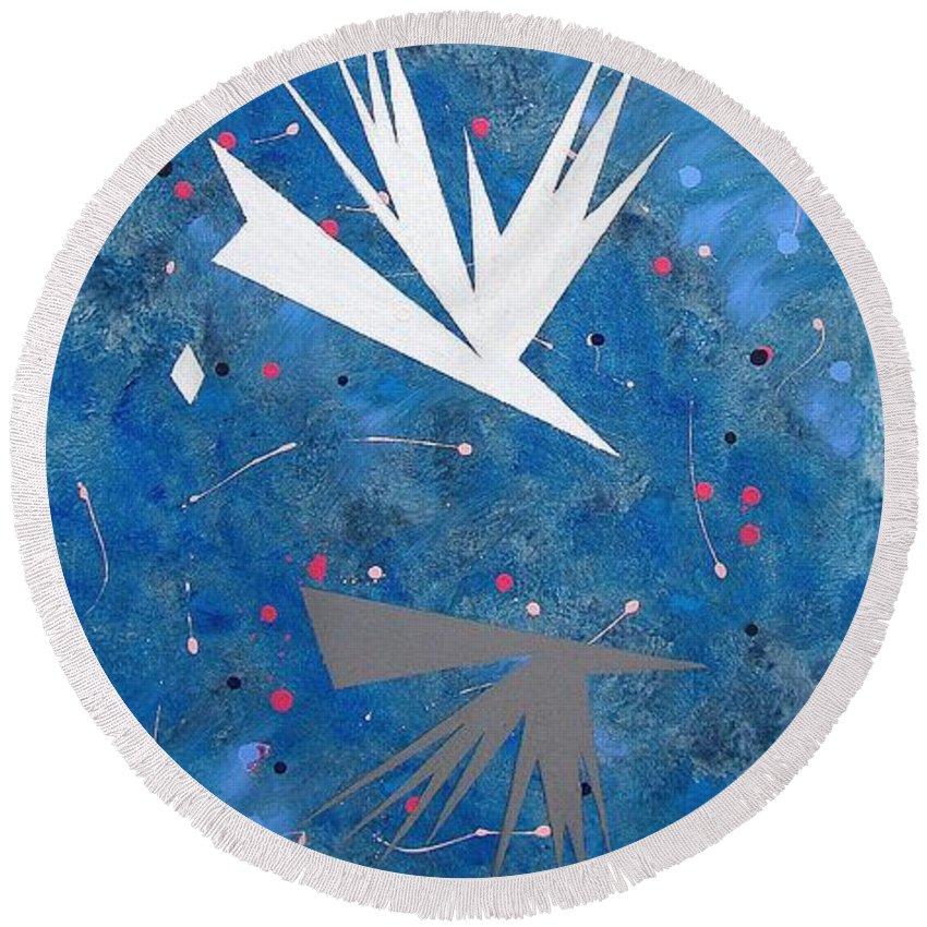 Birds And Diamond Stars Round Beach Towel featuring the painting Feeding Frenzy by J R Seymour