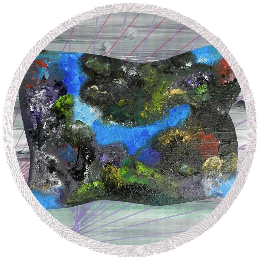 Abstract Round Beach Towel featuring the painting Feeling Divine by Muneer McAdams-Mahmoud