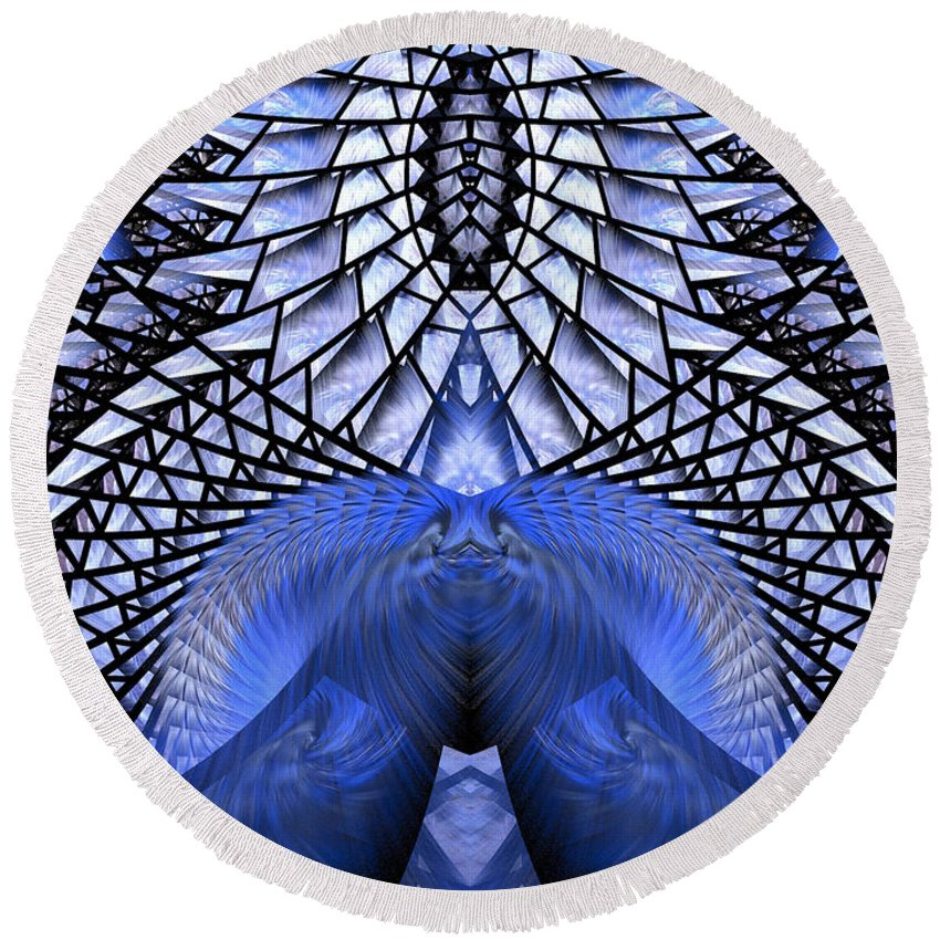 Fractal Round Beach Towel featuring the digital art Feeling So Blue by Amorina Ashton