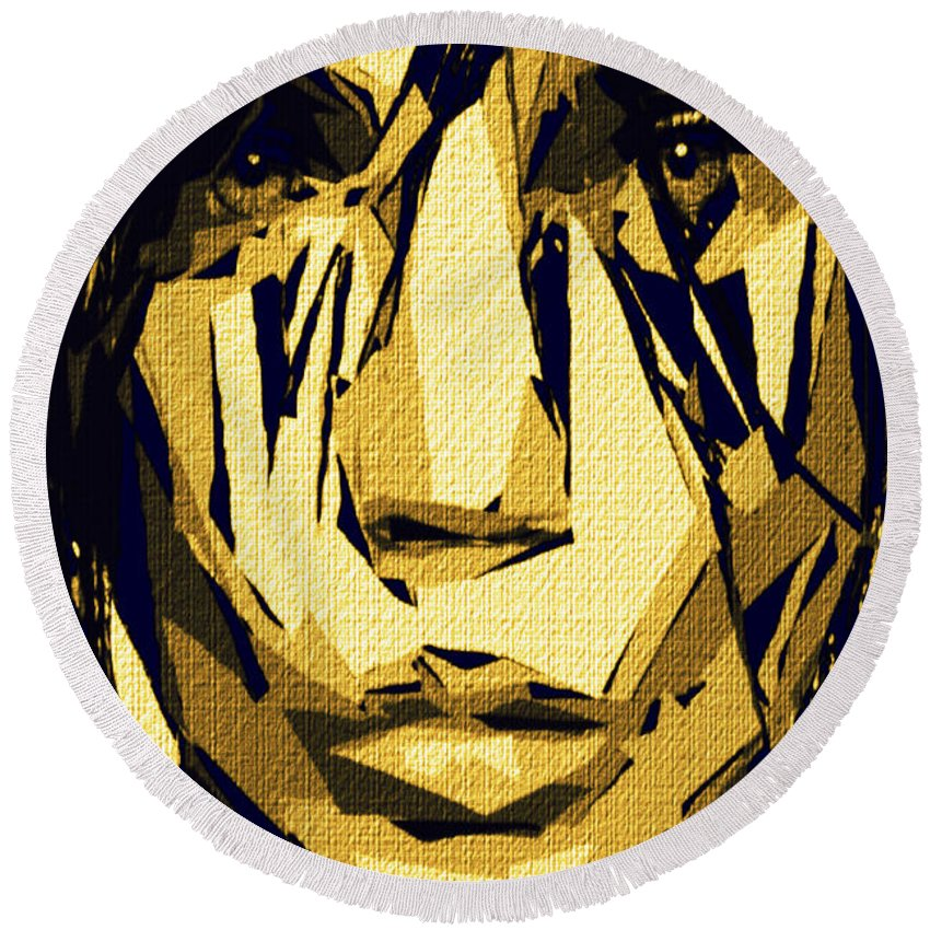 Art Round Beach Towel featuring the digital art Female Expressions Xlvi by Rafael Salazar