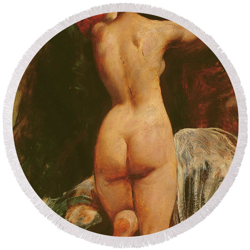 Nude Round Beach Towel featuring the painting Female Nude Seen From The Back by William Etty