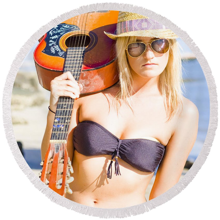 Tropical Round Beach Towel featuring the photograph Female Performing Artist by Jorgo Photography - Wall Art Gallery