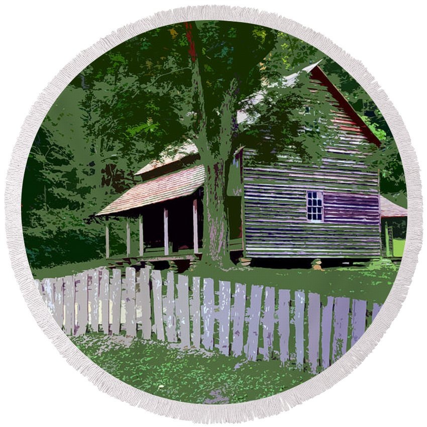 Cabin Round Beach Towel featuring the painting Fence And Cabin by David Lee Thompson