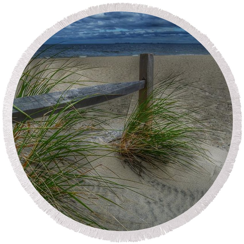 Beach Round Beach Towel featuring the photograph Fence And Dune Grass by Frank Morris