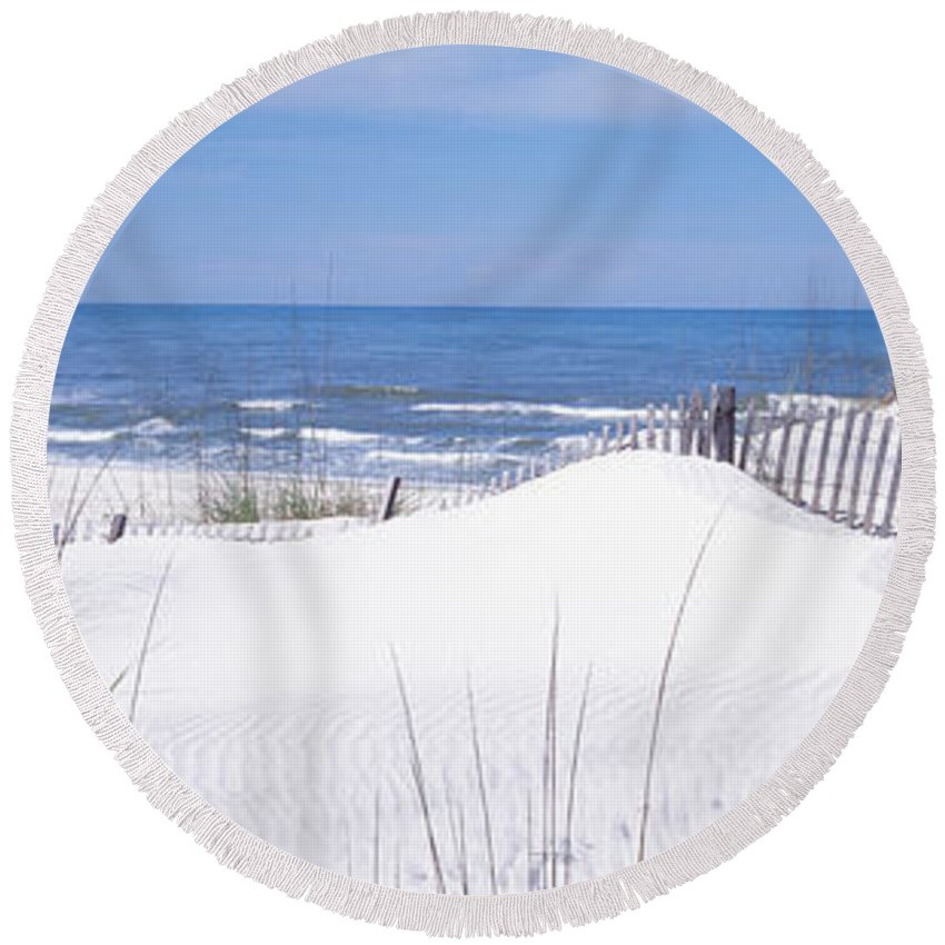 Photography Round Beach Towel featuring the photograph Fence On The Beach, Gulf Of Mexico, St by Panoramic Images