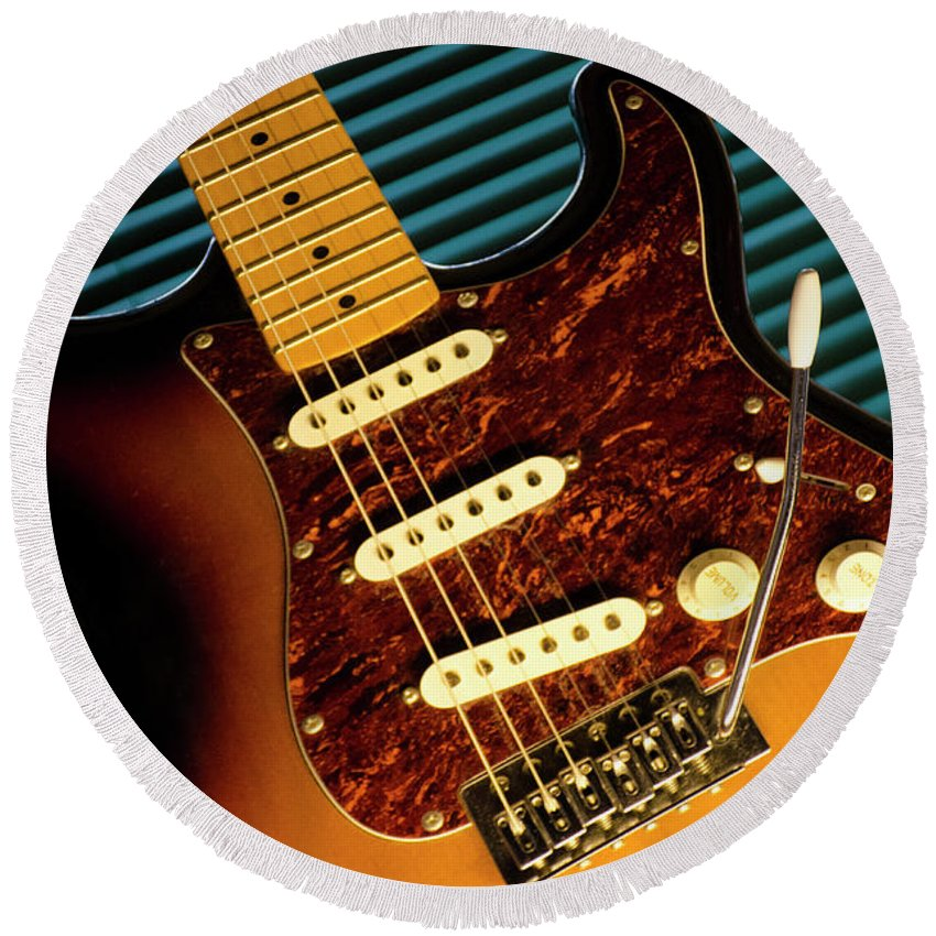 Fender Round Beach Towel featuring the photograph Fender Guitar by Bob Christopher