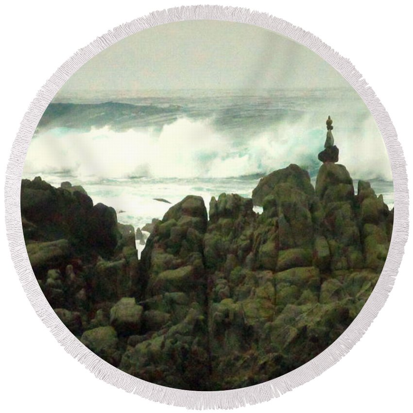 Feng-shui Round Beach Towel featuring the photograph Feng Shui On The Monterey Peninsula by Joyce Dickens