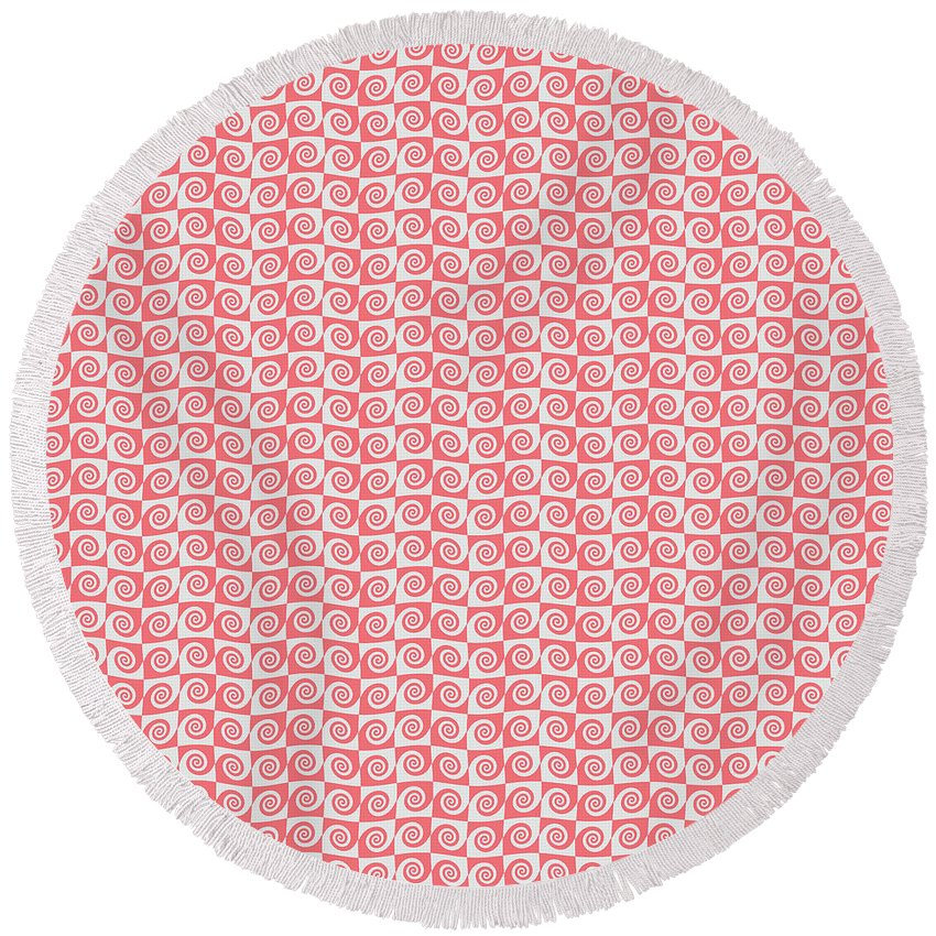 Background Round Beach Towel featuring the digital art Fermat Spiral Pattern Effect Pattern Red by Richard Wareham