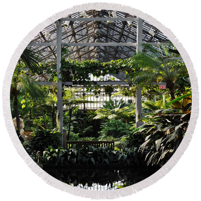 Garfield Park Conservatory Round Beach Towel featuring the photograph Fern Room Symmetry by Kyle Hanson